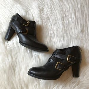 J Crew Black Britten Leather Buckle Ankle Boots
